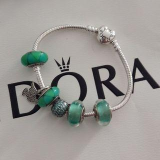 Pandora set turqoise green