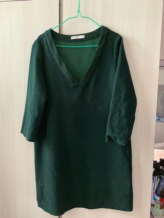 墨綠色連身裙