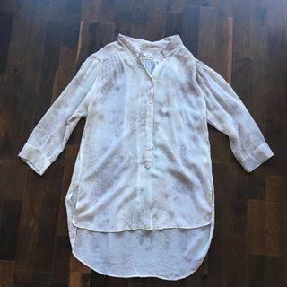 Aritzia WILFRED silk tunic blouse shirt top