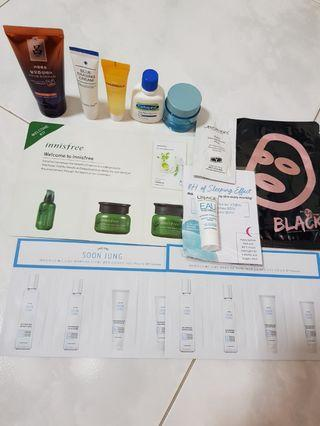 🚚 Assorted skin care and one haircare samples products (innisfree, soon jung, uirage etc)