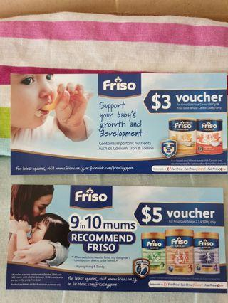 Friso $3 cereal and $5 milk vouchers