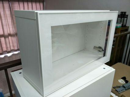 IKEA custom made glass wall mount cabinet (new)