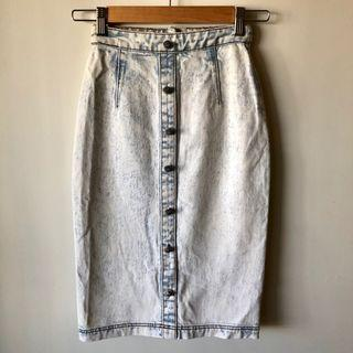 Aje Distressed Midi Denim Skirt Size 6