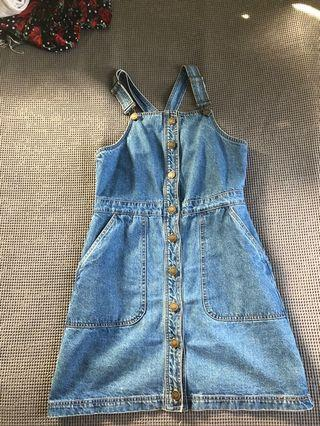Denim overall dress size small