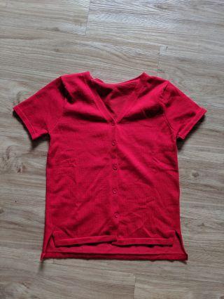 Ribbed Red V-neck Shirt