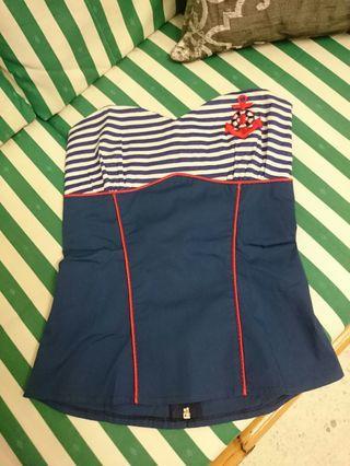 Cute sailor tube top #CarousellFaster
