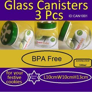 Canisters - Glass Canisters - 3 Pieces - Brand New - BPA Free - Made in Turkey