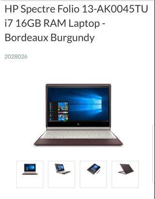 🚚 HP Spectre Folio 13-AK0045TU i7 16GB RAM Laptop - With 4K IPS Monitor