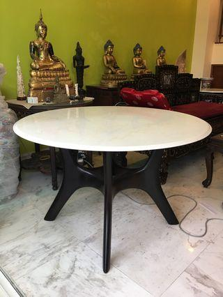 4ft Teak marble table