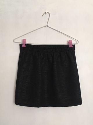 Black Textured Mini Skirt