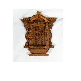 Vintage hand carved wooden window wall hanging intricate
