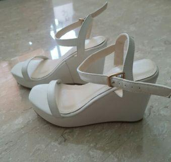BN White Platform Wedges with Ankle Strap