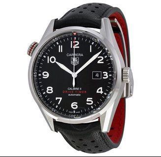 Tag Heuer Carrera Calibre 5 Black Dial Leather Watch WAR2A10.FC6337