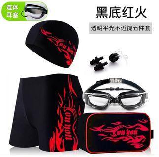 男泳褲套裝組泳鏡耳塞泳包泳衣溫泉夏日戲水海邊海灘褲Swimming pants(黑紅)