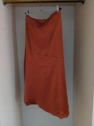 Silky copper midi skirt