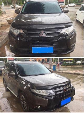 Mitsubishi Outlander Bonnet Protector, plain matt black design.