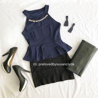 Dark Blue Peplum Top