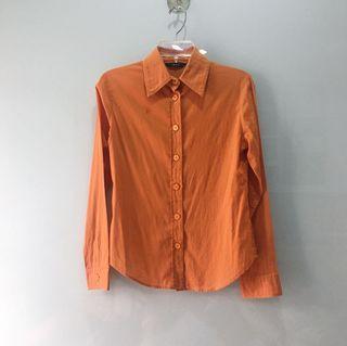 Mango Vintage Orange Button Up Shirt