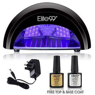 [HG10] LED Nail Lamp Kit, Elite99 12W Nail Dryer Machine Fast Curing LED Gel with 4 Timers Presets (30s, 60s, 90s, 30min) UK PLUG + FREE TOP BASE COAT SET