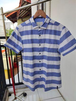 Kemeja: X.EIGHT Comfort Fit Men Shirt Blue Stripes - Size M