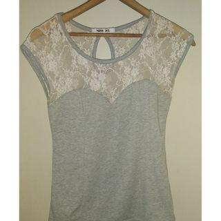 Grey and lace corset style top