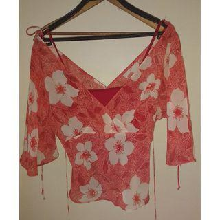Room two red floral top with under singlet