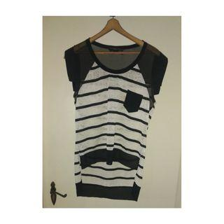Lucette black and white hi lo top