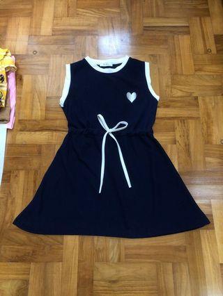 Navy Drawstring Heart Uzzlang Dress