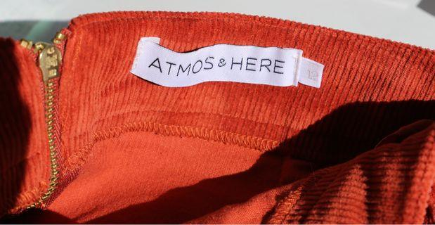 Atmos & Here corduroy skirt in rust 12