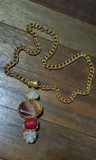 HANDMADE ARTISAN PRECIOUS STONES LONG NECKLACE