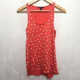 Mango butterfly print coral sleeveless top
