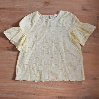 Lace Top Yellow Pastel with Ruffles Sleeve