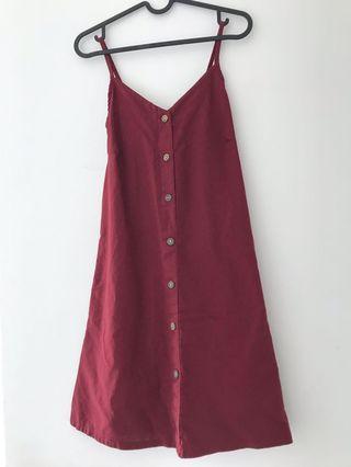 Maroon casual button elastic dress