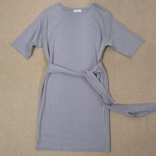 Made in Korea Monologue Grey Cotton Tie Waist Dress in One Size