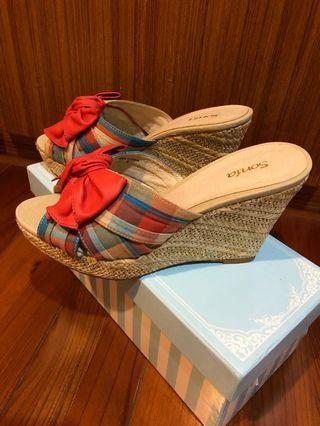 🚚 34尺寸專櫃蝴蝶結🎀鞋底編織楔型涼鞋