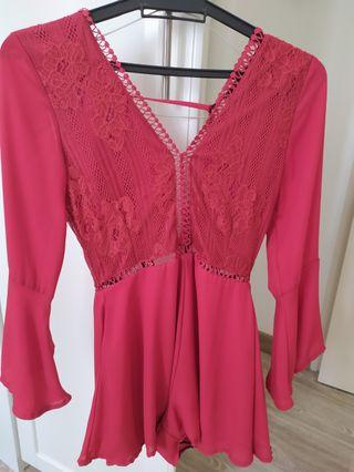 Red cute playsuit