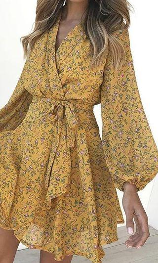 Yellow floral summer wrap dress, long sleeve dress