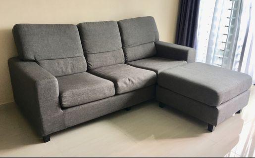 3 Seater Fabric Sofa + stool (Grey)
