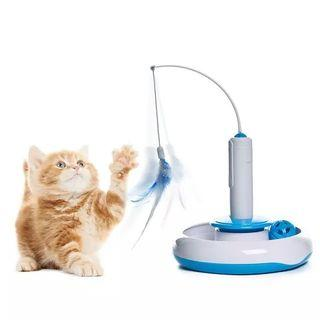 [HG364] ELITE Electrical 360 Degree Rotating Interacting Cat Motion Toy Cat Kitten Teaser with Feather