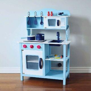 Wooden Kitchen Playset with full set utensils [cooking sounds and light effect]