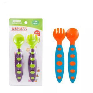 ***High quality*** Baby feeding training spoon and fork set baby spoon and fork (Ready Stock)