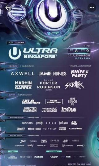WTB: Ultra 2019 Saturday ticket
