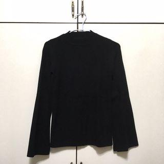 針織小喇叭袖上衣(黑)