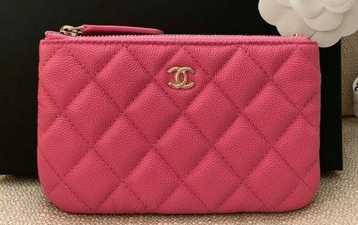 ❤Pink Pink❤ 19C Chanel mini o case wallet pouch (gold hardware cavair)