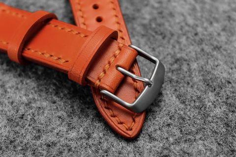 Italian Orange Leather Watch Strap