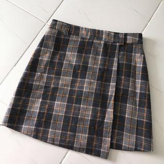 Ulzzang Checkered Overlap Skirt