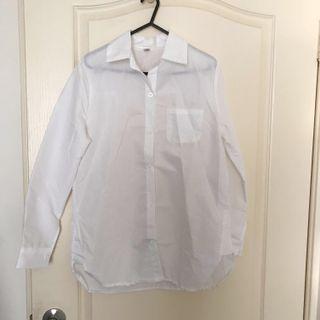 🚚 森林系🌲簡約中長版八分袖白襯衫