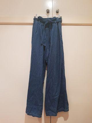 Wide Leg Denim Pants Size XS-S/6-8