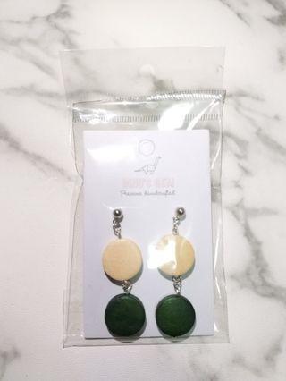 Handcrafted Green Wooden Earrings