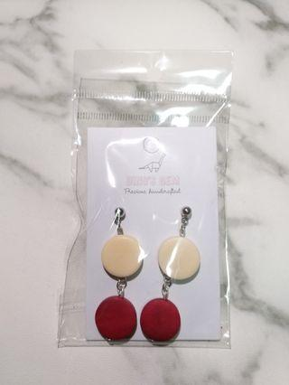 Handcrafted Red Wooden Earrings